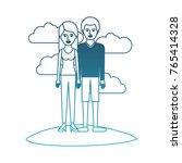 couple in degraded blue... | Shutterstock .eps vector #765414328