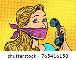 woman with bandage on mouth and ... | Shutterstock .eps vector #765416158