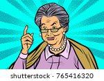 elderly woman pointing finger... | Shutterstock .eps vector #765416320
