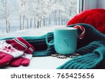 Winter Background. Cup With...