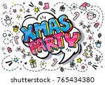 xmas party in word bubble.... | Shutterstock .eps vector #765434380