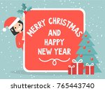merry christmas and happy new... | Shutterstock .eps vector #765443740