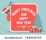 merry christmas and happy new... | Shutterstock .eps vector #765443743