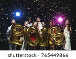 new 2018 year is coming  group... | Shutterstock . vector #765449866