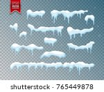 snow  ice cap. snowfall with... | Shutterstock .eps vector #765449878