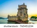 sunset over belem tower in... | Shutterstock . vector #765451234