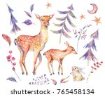 winter watercolor vintage card... | Shutterstock . vector #765458134