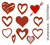 set of hand drawn love hearts.... | Shutterstock .eps vector #765470464
