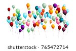 realistic balloons bunch flying ... | Shutterstock .eps vector #765472714