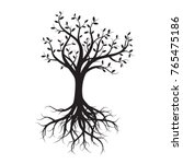 black tree and roots. vector... | Shutterstock .eps vector #765475186