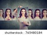 masked woman expressing... | Shutterstock . vector #765480184