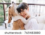 close up portrait of blissful... | Shutterstock . vector #765483880