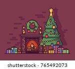 christmas fireplace conceptual... | Shutterstock .eps vector #765492073