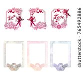 set of mosaic stickers with... | Shutterstock .eps vector #765492886