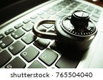 cyber security with lock on... | Shutterstock . vector #765504040