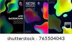 abstract neon liquid 3d acid... | Shutterstock .eps vector #765504043