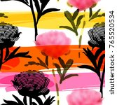 Stock vector vector seamless pattern with abstract flowers 765520534