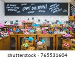Small photo of Montreal, Canada _ November 29, 2017. Inside Lush Shop in Montreal on St-Denis Street