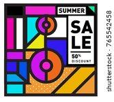 summer sale memphis style web... | Shutterstock .eps vector #765542458
