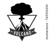 volcano silhouette in triangle. ...   Shutterstock .eps vector #765543334