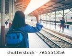 young beautiful asian woman say ... | Shutterstock . vector #765551356