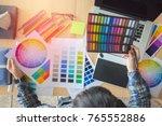 blur top view.designer in ... | Shutterstock . vector #765552886