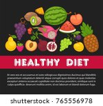 organic fruits poster of... | Shutterstock .eps vector #765556978