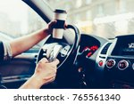 stylish driver with a... | Shutterstock . vector #765561340