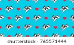 Dog french bulldog heart icon valentine puppy doodle vector seamless pattern wallpaper background