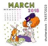 March. 2018 Calendar. Cute Girl ...