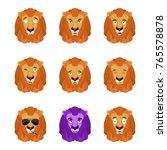 lion set emoji avatar. sad and... | Shutterstock .eps vector #765578878