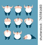 fat set poses and motion. stout ...   Shutterstock .eps vector #765581683
