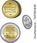 a cartoon set of bitcoin coins... | Shutterstock .eps vector #765581830