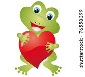 Frog With Heart On A White...