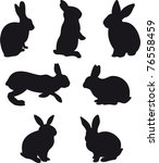 silhouettes of hare and rabbit ... | Shutterstock . vector #76558459