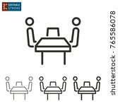 conference table   outline icon ... | Shutterstock .eps vector #765586078