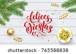 felices fiestas navidad spanish ... | Shutterstock .eps vector #765588838