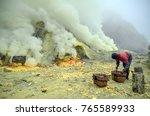 kawah ijen sulfur miner in the... | Shutterstock . vector #765589933