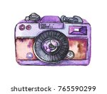 watercolor retro photo camera... | Shutterstock . vector #765590299