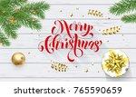 merry christmas golden... | Shutterstock .eps vector #765590659