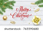 merry christmas golden... | Shutterstock .eps vector #765590680