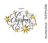 merry christmas holiday golden... | Shutterstock .eps vector #765591058