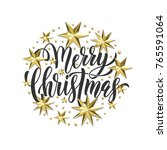 merry christmas holiday golden... | Shutterstock .eps vector #765591064
