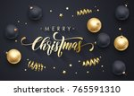 merry christmas golden... | Shutterstock .eps vector #765591310