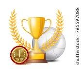 volleyball achievement award... | Shutterstock .eps vector #765597088