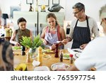 group of friends are cooking in ... | Shutterstock . vector #765597754