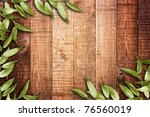 green leaves on the old wooden... | Shutterstock . vector #76560019