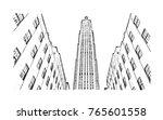 sketch illustration of midtown... | Shutterstock .eps vector #765601558