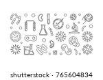 virus linear illustration or... | Shutterstock .eps vector #765604834