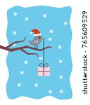 winter card with bird and gift... | Shutterstock .eps vector #765609529